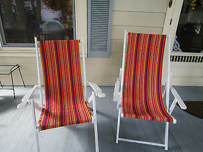 2 Vintage/Antique Beach/Lake/Deck/Pool/Cabin Chairs. New paint and new fabric.