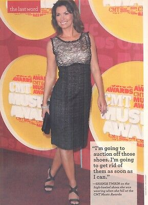 "Shania Twain, Country Music Star in 2011 Magazine Print Item. ""Get rid of shoes"""