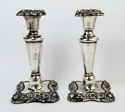 Victorian STERLING SILVER CANDLESTICKS Chester 1896