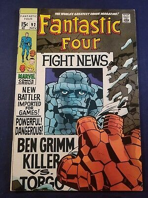 Fantastic Four#92 ( 1969) Fn+ 6.5 Stan Lee Jack Kirby 2Nd Torgo 1 Owner Glossy!!