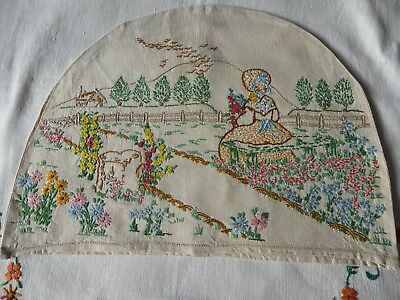 Vintage Hand Embroidered Tea Cozy/teapot Cover- Beautiful Crinoline Lady