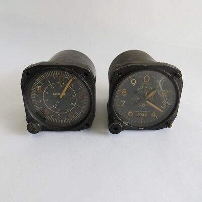 2 Vintage Military Aviation Altitude US Army Aircraft Gauge Type B-12 C-14 WWII