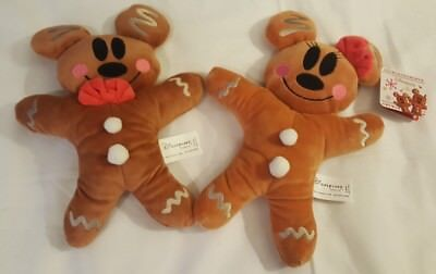 Disneyland Paris Gingerbread Plush Mickey And Minnie - Disney Christmas NEW RARE
