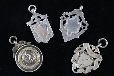 4 x Vintage Hallmarked .925 STERLING SILVER Fobs inc. Cricket (30g)