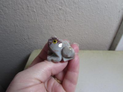 Frog, Hand carved Stone from the Andes of Peru. Rich Hued Miniature Stone Frog