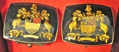 Unusual Ca. 50's Lucite Auckland Coat Of Arms Amber Colored Cuff Links