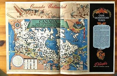 Stunning 1945 Canadian Ad Wwii Canada Patriotic Cartoon Color Map O'keefe's Beer