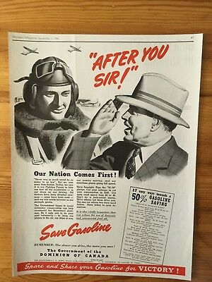 1941 Canadian Ad Wwii Canada Rcaf Pilot Ration Rationing Gas Gasoline Save