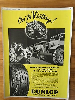 1941 Canadian Ad Wwii Canada Patriotic Flag Dunlop Tires On To Victory Trucks