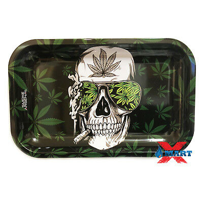 Smoke Arsenal BLAZE TO THE GRAVE Tobacco Metal MEDIUM Rolling Tray 11x7