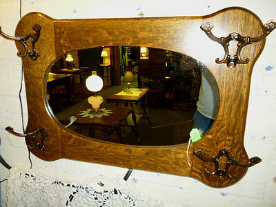 Antique Oak Wall Hall Mirror with hooks Hat coat rack Refinished 1908