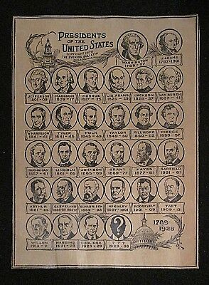 1928 Presidents of the United States Chart Page by The Evening Bulletin 1928