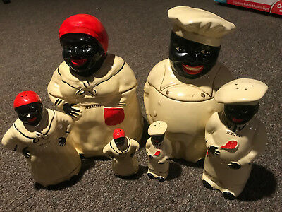 Vintage 1940's Pearl China Black Americana Mammy/Chef Cookie Jars, Matching S&P