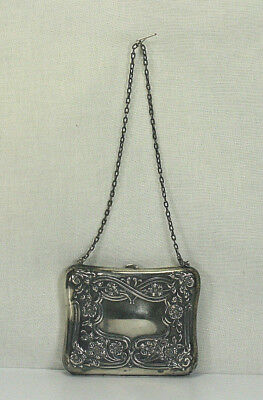 Antique Victorian Sterling Silver Dance Purse Calling Card Case W/calling Cards