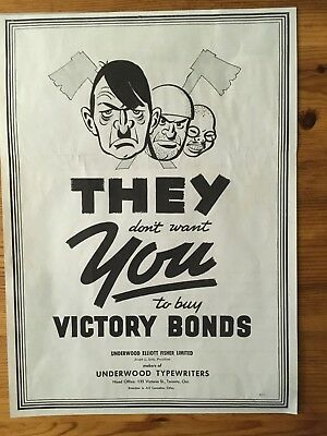 1942 Wwii Canada War Canadian Ad Nazis Hitler Buy Victory Bonds