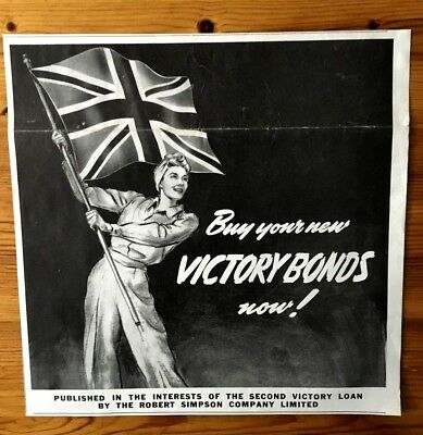 Stunning 1942 Wwii Canada War Canadian Ad  Buy Victory Bonds Patriotic Flag