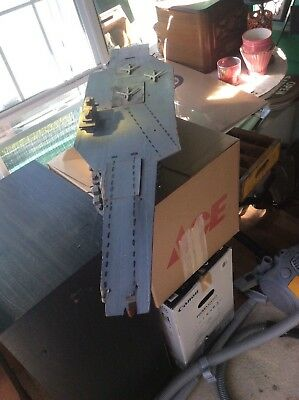 Large 43 in. Vintage Handmade Wood Aircraft Carrier Ship Model with Motors.