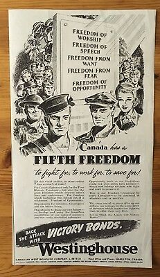 1943 Wwii Canada War Canadian Ad  Wartime Soldiers Patriotic Victory Bonds