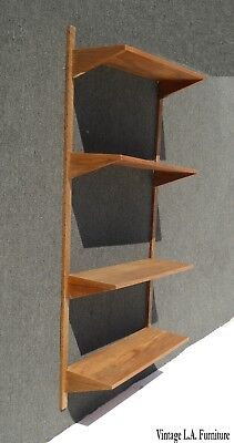 Vintage Danish Mid Century Modern Wall Unit Bookcase w Four Shelves