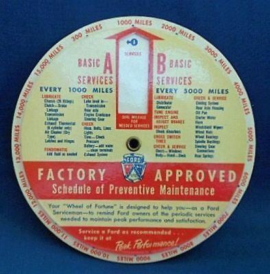 1950's UNUSED FORD DEALER SERVICE DEPARTMENT DIALER FOR RECOMMENDED MAINTENANCE