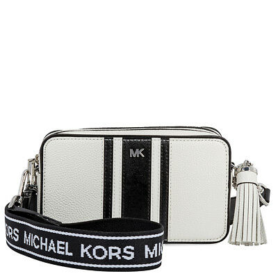 d54762004d07 Michael Kors Small Tri-Color Logo Leather Camera Bag- Optic White Black