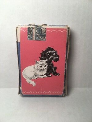 Vintage c1940s Pedigree Playing Cards Blue Stamp Black Dog White Cat Complete