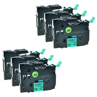 6 Pack Black on Green TZ-741 Tze-741 Label Tape For Brother P-touch PT-2130 7500