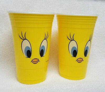 2 Looney Tunes Tweety Bird yellow 16 oz Reusable Heavy Plastic Party Cups new