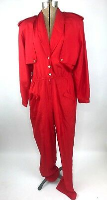 Vintage 1980s Argenti Jumpsuit Size 14 Solid Red Pure Silk Long Sleeve Pant FLAW