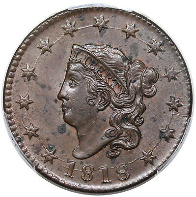 1818 Coronet Head Large Cent, N-10, PCGS MS62BN