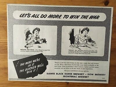 1943 Wwii Canada War Canadian Ad  Wartime Dawes Black Horse Brewery Patriotic