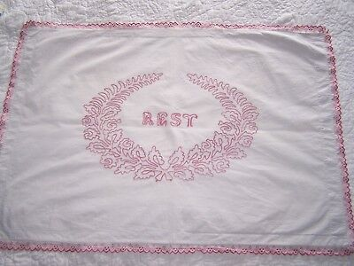 "Vintage Hand Embroidered Pillow Sham Turkey Red? ""REST"" Buttons Cotton"