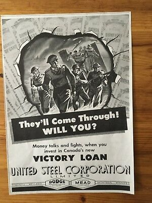 1943 Wwii Canada War Canadian Ad  Wartime Patriotic Buy Bonds Soldiers