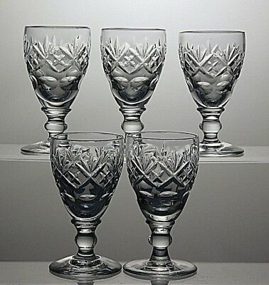 Bohemian/czech Art Glass Original Set Of 5 Czech Bohemian Panel Sided Polished Shot Glasses 1930s