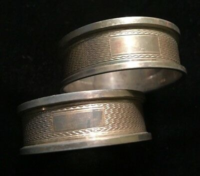Two Vintage English B&Co Hallmarked Sterling Silver Napkin Rings Birmingham 1955