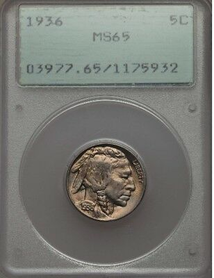 "1936 Buffalo Nickel MS65 PCGS ""Old Green Holder"" OGH standard"