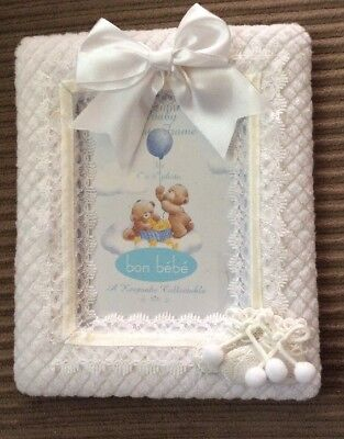 """White Baby Picture Frame 4"""" X 6"""" bon be'be' Keepsake Collectible"""