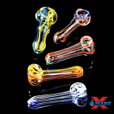 "2.5""- 3"" Colored Stripes TOBACCO Smoking Pipe Herb Bowl Glass Hand Pipes (GP-6)"