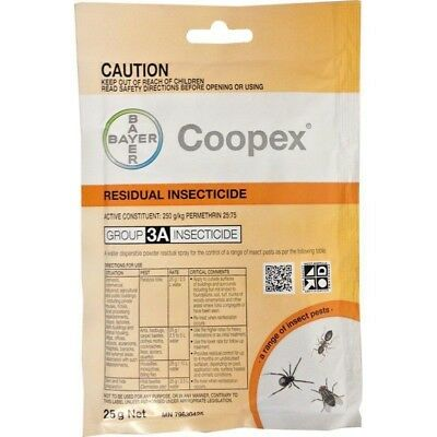 Coopex Residual 25gm Powder Dissolvable Insects Flies Silverfish Ant Cockroach