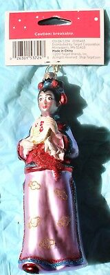 "Colorful Hand Painted Asian Woman Glass Ornament W/tag 2011 About 5 3/4"" Tall"