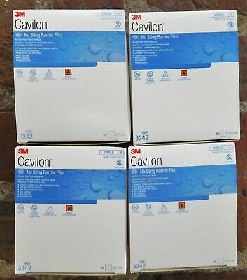 4 Boxes of 3M Cavilon NO STING BARRIER FILM - 50 Wipes/Box, 0.75ml, Ref 3342