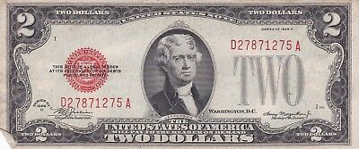 Series 1928 D Red Seal Two Dollars $2 United States Note