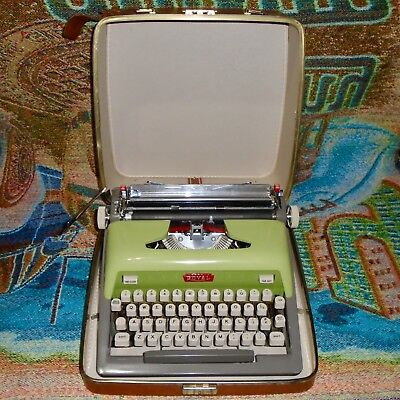 Vintage Green Royal Futura 800 Portable Typewriter with the Case - Works Great