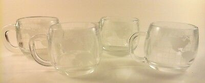4 VINTAGE 1970's Nestle Nescafe WORLD GLOBE Etched Glass Coffee Mugs Cups