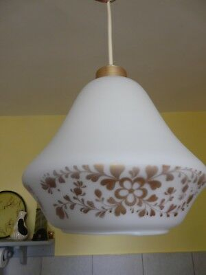 Pair Vintage French 60's/70's Pendant Lights White Glass + Bronze/Gold Trim