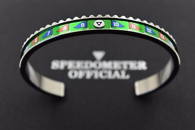 "Speedometer Official Silver Steel & Green ""Golf"" Bangle Bracelet"