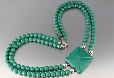 Vintage 50'S Multi 2 Strand Green Plastic Lucite Bead Pendant Necklace