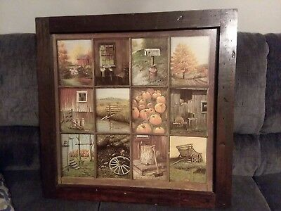 Vintage Homco Home Interior Interiors Window Pane Picture Fall Decor B Mitchell