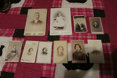Lot of Vintage Antique Photos CDV some with stamps on back