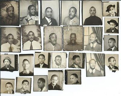 Lot of 25 Photo Booth Photos ~ African American Men & Boys ~ 1930s? KY